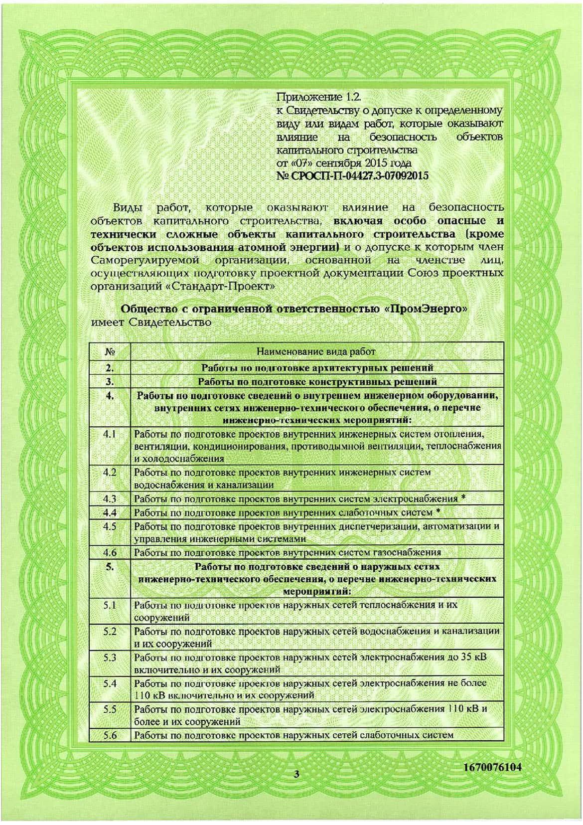 Свидетельство СРО ООО ПромЭнерго 4